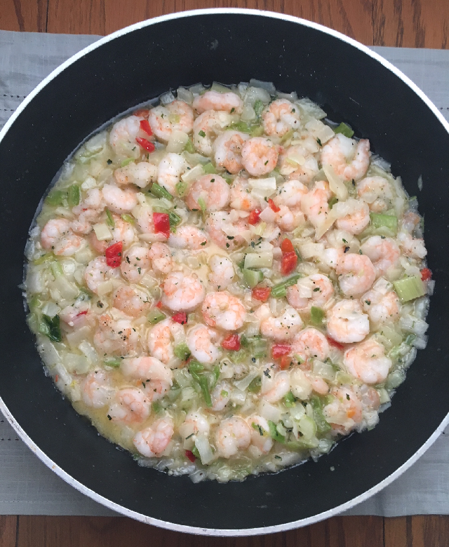 sauteed onion bell pepper celery and shrimp