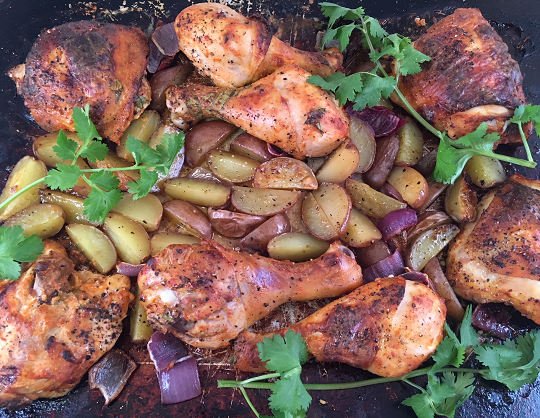 One Pan Yogurt Marinated Chicken and Potatoes