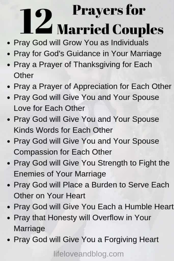 12 marriage prayers for couples